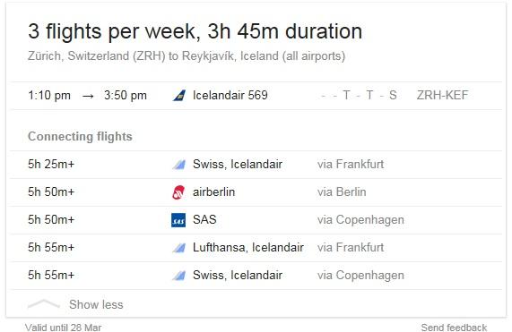 Zurich to Reykjavik