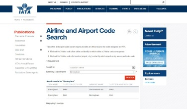 Search airport code