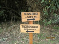 Signage to Inca bridge