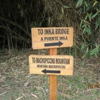 Signage to Inca bridge