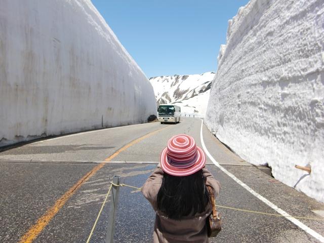 Surfing ice walls inTateyama