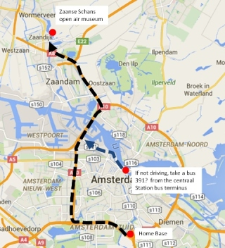 Route to Zaanse Schans