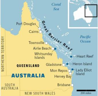 Grea Barrier reef map