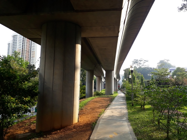 Park connector under the train line