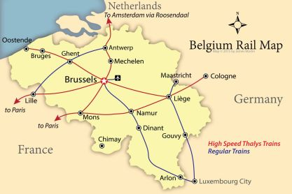 Belgium railway map