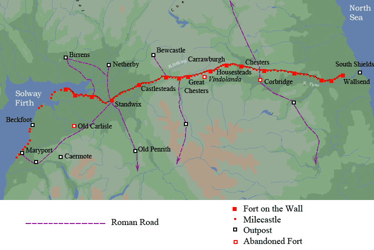 Map of Hadrians wall