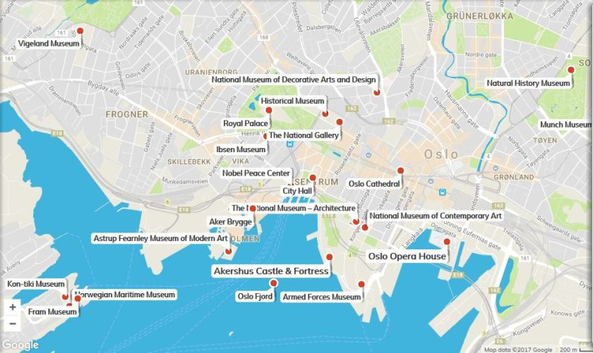 Oslo attractions Map