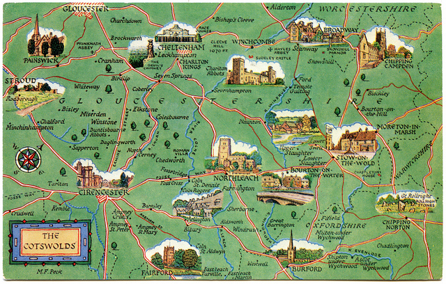 Postcard map of Cotswolds