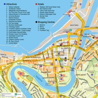 Trondheim-Tourist map