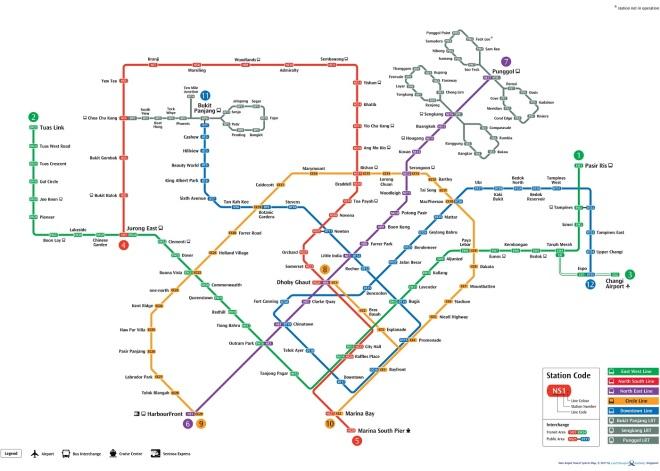 SG MRT line map